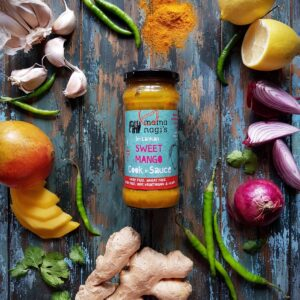 A rich sweet & Spicy  Mango chilli sauce with hints of ginger & nigella seeds    DAIRY FREE, WHEAT FREE, GLUTEN FREE, 100 % VEGETARIAN & VEGAN